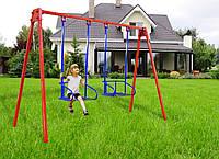 Качеля детская садовая усиленная двухместная, высота 2м