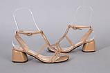 Босоножки женские кожаные карамельного цвета на каблуке, фото 2