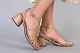 Босоножки женские кожаные карамельного цвета на каблуке, фото 8