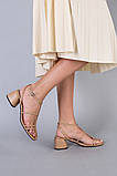 Босоножки женские кожаные карамельного цвета на каблуке, фото 10