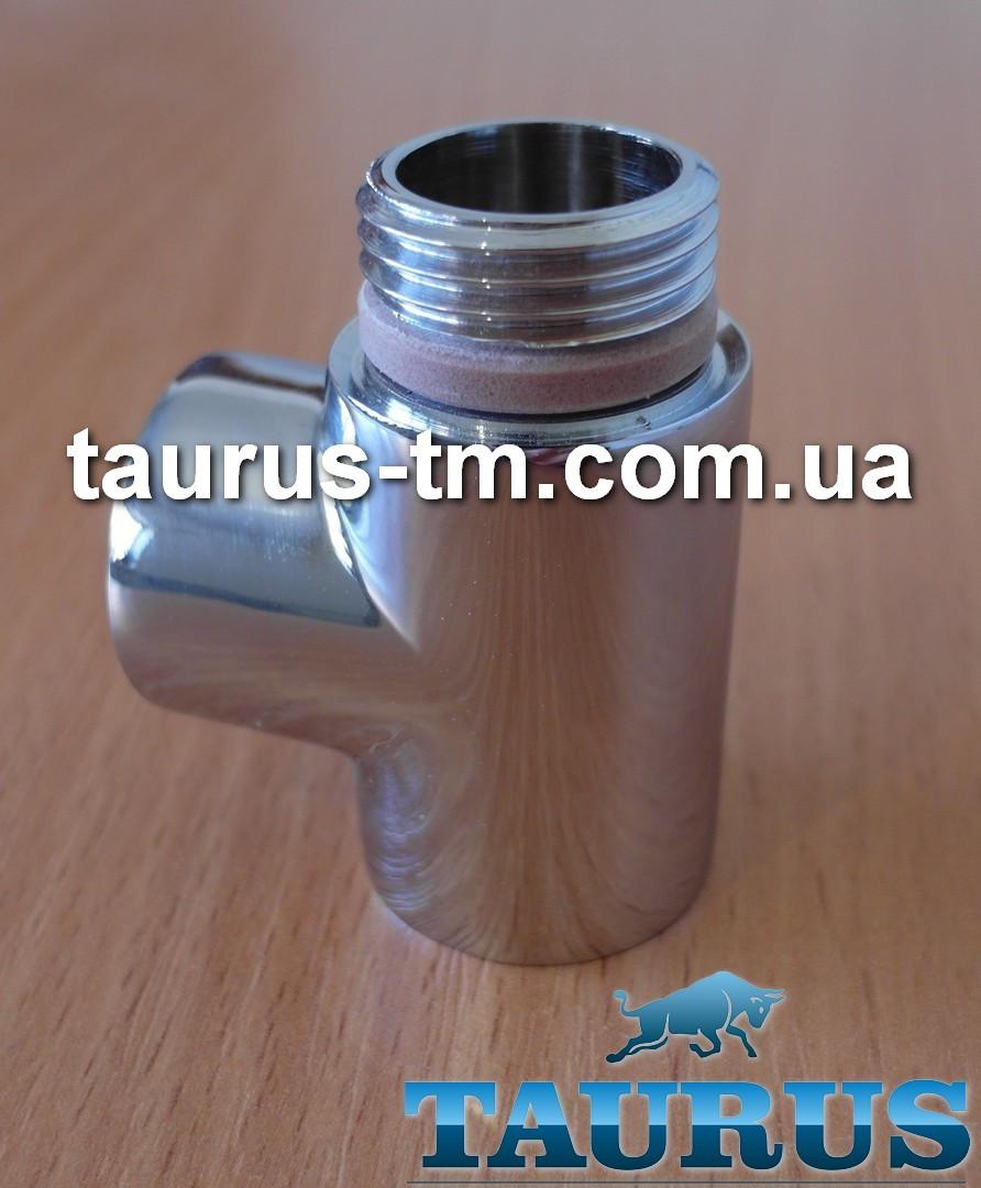"""Тройник Premium хром 1/2"""" с уплотнительным кольцом для полотенцесушителей комбинированных (электро+вода)"""