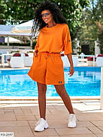 Прогулочный костюм женский спортивный свободного кроя шорты с футболкой  р-ры 38-48 арт. 812