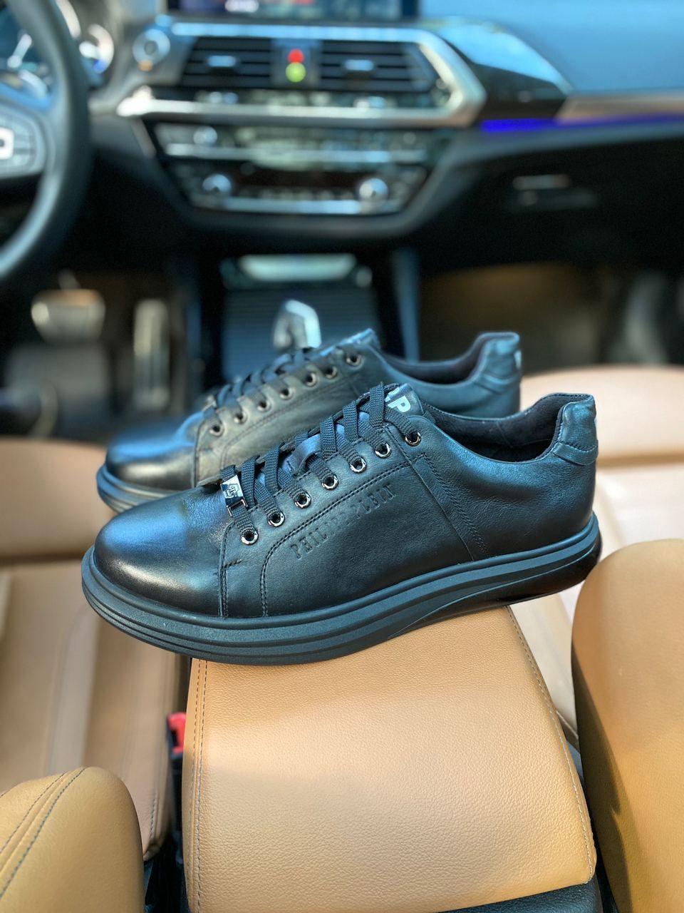 Мужские кеды туфли Philipp Plein черные кожаные 40 размер
