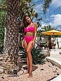 Жіночий роздільний купальник з топом і кільцем рожевий, фото 2