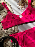 Жіночий роздільний купальник з топом і кільцем рожевий, фото 8