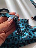 Женский раздельный купальник с топом и кольцом синий леопардовый, фото 2