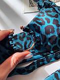 Женский раздельный купальник с топом и кольцом синий леопардовый, фото 5