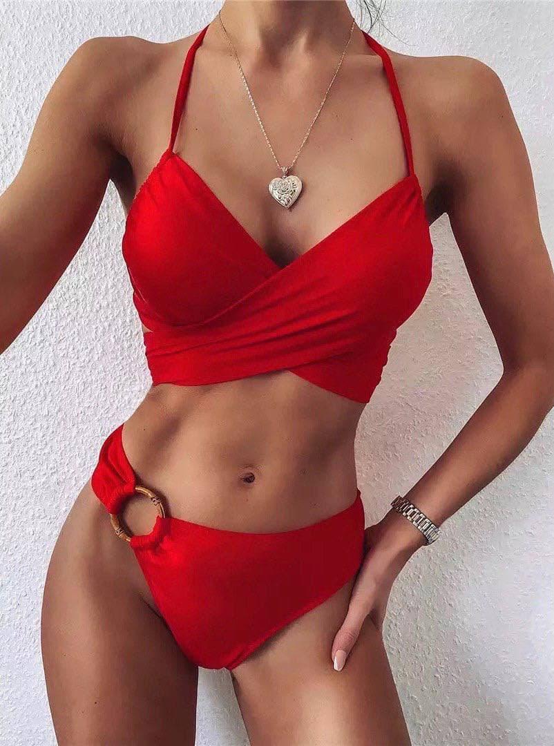 Жіночий роздільний купальник з ліфом на запах червоний