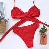 Жіночий роздільний купальник з ліфом на запах червоний, фото 7