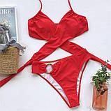 Жіночий роздільний купальник з ліфом на запах червоний, фото 9