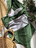 Женский слитный купальник на одно плечо цвета хаки, фото 6