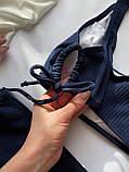 Женский раздельный купальник в рубчик с топом на шнуровке темно-синий, фото 3