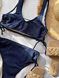Женский раздельный купальник в рубчик с топом на шнуровке темно-синий, фото 7