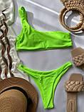 Жіночий роздільний купальник бандо на одне плече салатовий, фото 8