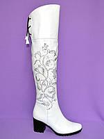 Ботфорты на каблуке белые со старазами. Зимние на меху.