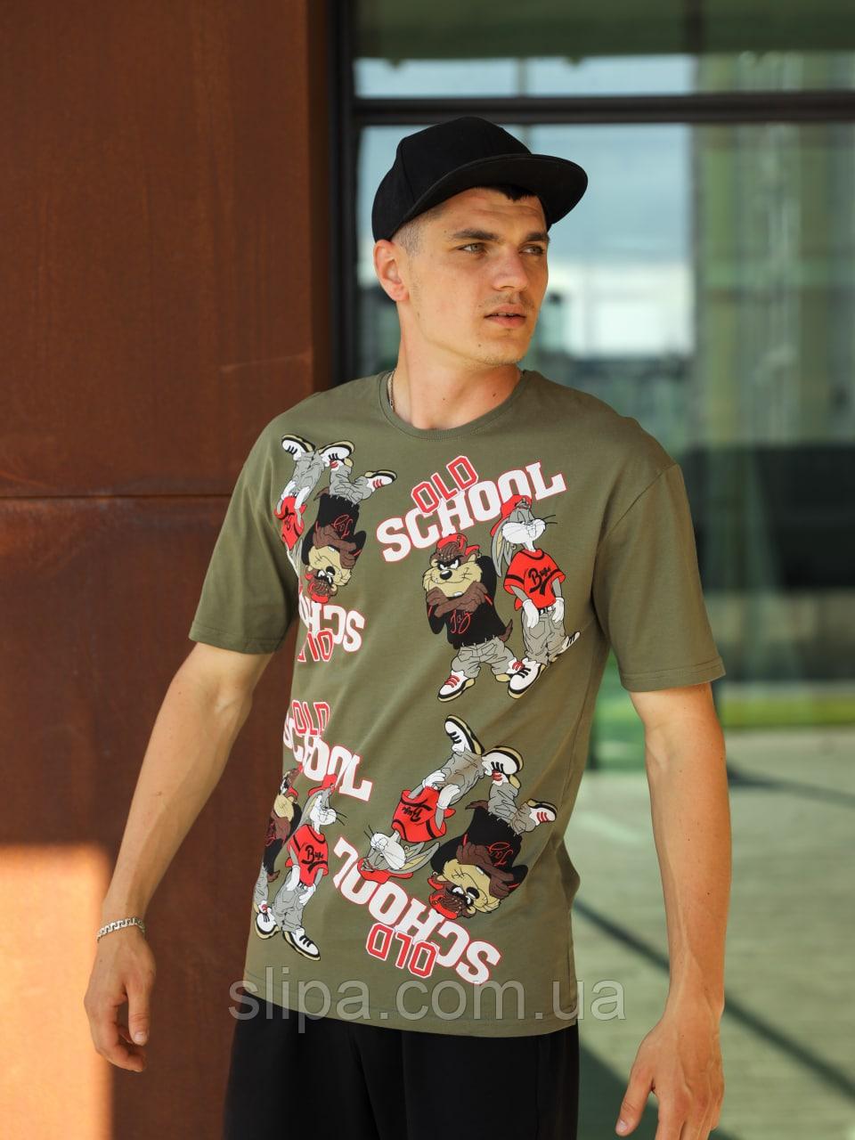 Хакі футболка чоловіча OLD SCHOOL   Туреччина   трикотаж супрем