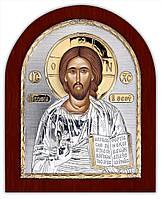 Спаситель икона Серебряная с позолотой Silver Axion (Греция)  85 х 100 мм