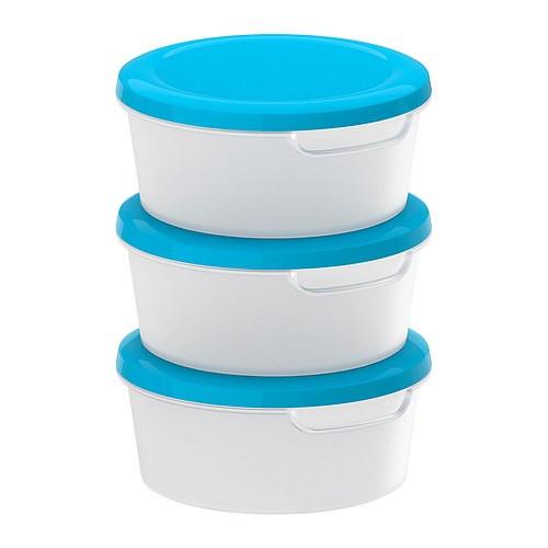 JÄMKA контейнер для хранения пищевых продуктов, белый/синий / 3шт.