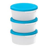"""ИКЕА """"JÄMKA"""" контейнер для хранения пищевых продуктов, белый/синий / 3шт."""