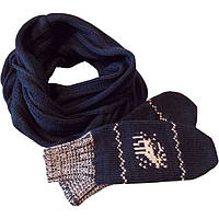 Вязаный шарф - снуд и  варежки c норвежскими орнаментами