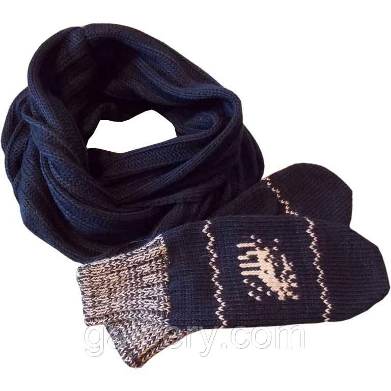 Вязаный шарф-снуд и  варежки c норвежскими орнаментами