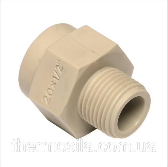 Перехідник з пластиковою різьбою зовнішній 20х3/4 (50/50) , Ekoplastik