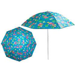 """Большой зонт с УФ защитой Stenson 1.8 м """"Фламинго"""", солнцезащитный зонтик пляжный (парасоля пляжна) (GK)"""