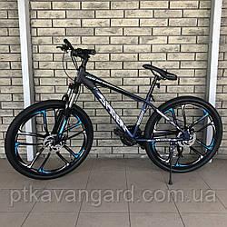Велосипед Спортивный на литых дисках 26 дюймов для подростков и взрослых Spider CORSO Синий, рама алюм,Shimano