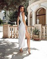 Шикарное вечернее платье макси на одно плечо з разрезом сбоку