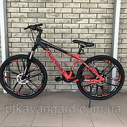 Велосипед Спортивный городской на литых дисках 26 дюймов Spider CORSO Красный рама алюминиевая, Shimano