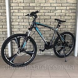 Велосипед Спортивный на литых дисках Evolution взрослый и подростковый 26 дюймов Синий CORSO рама алюм