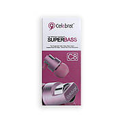 Наушники CELEBRAT C8 вакуумные с гарнитурой, розовые
