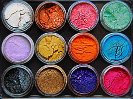 Набір з 12 пігментів міка пудри дрібнодисперсні. MicaMe Rainbow МикаМи Веселка