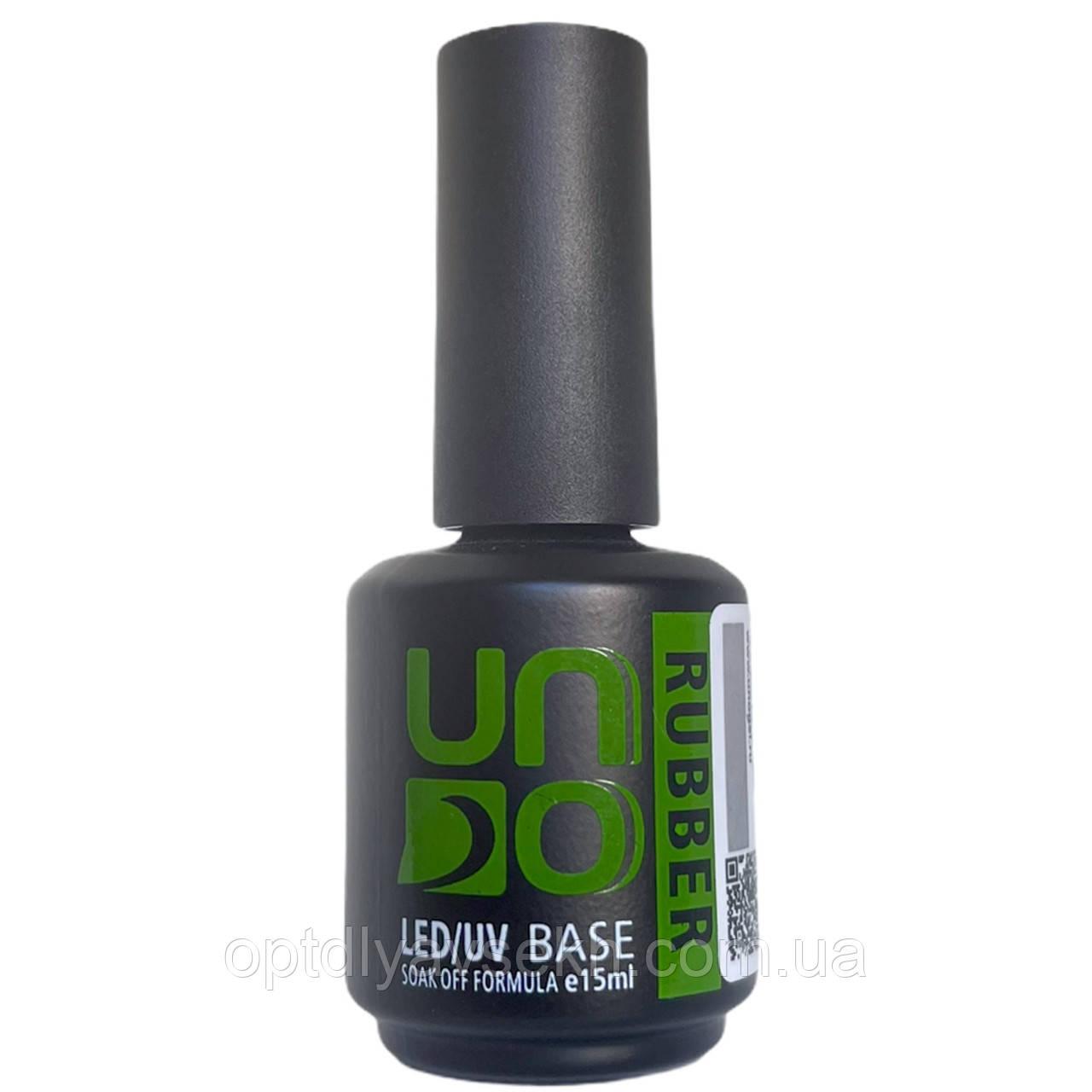 Каучуковое базовое покрытие для ногтей UNO Rubber Base, 15 мл.