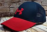 Чоловіча жіноча бейсболка кепка андер амур з сіткою, фото 5