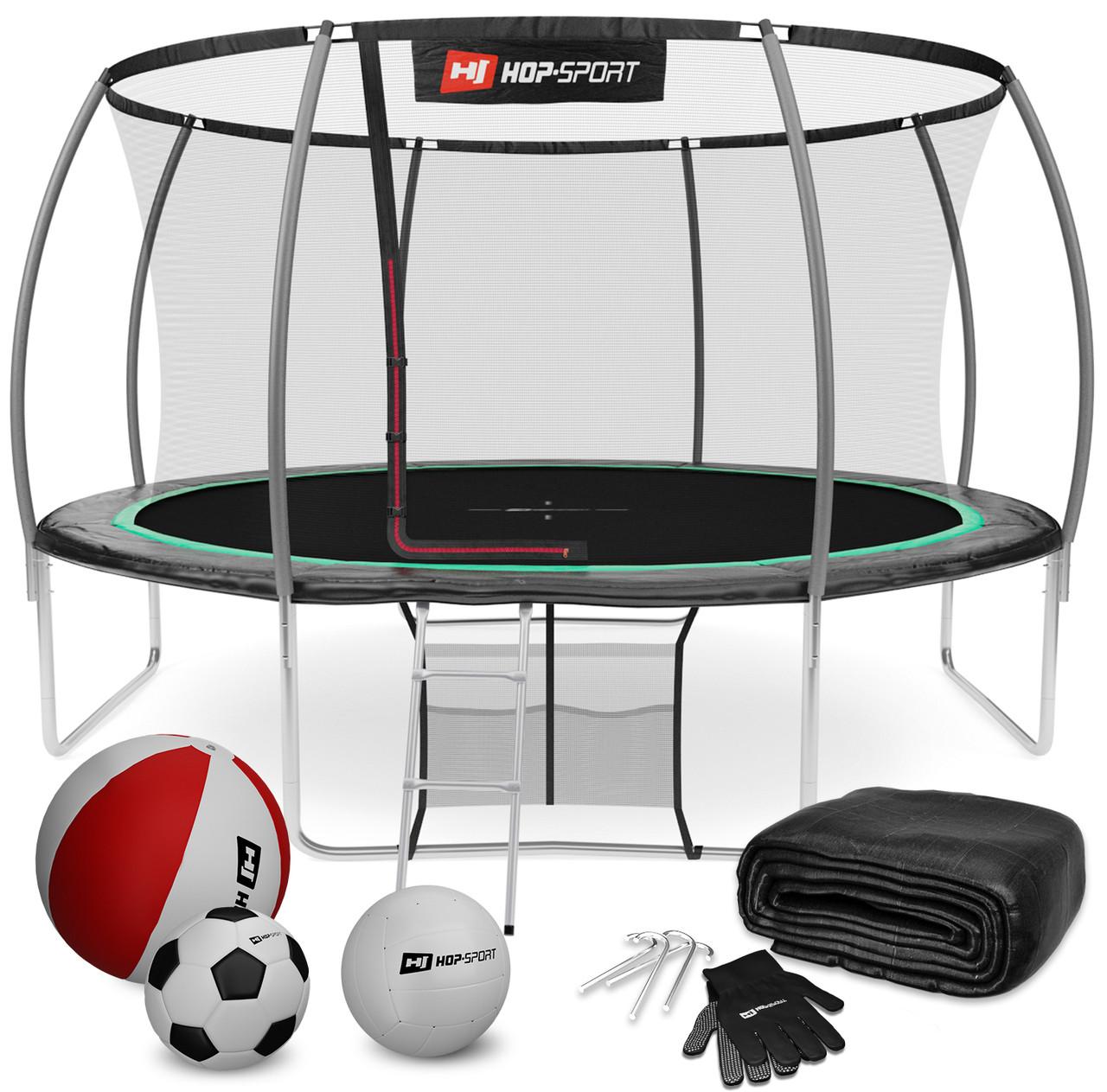 Батут для прыжков с внутренней сеткой 427 см 3 ноги черный с зеленым Hop-Sport Premium 14ft (427cm)