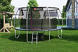 Батут для прыжков с внутренней сеткой 427 см 3 ноги черный с зеленым Hop-Sport Premium 14ft (427cm), фото 4