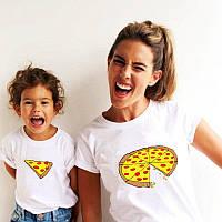 """Комплект футболок з накаткою для мами та дитини """"Pizza"""". Білий колір. (Роздріб)."""