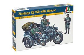 ZUNDAPP KS750 WITH SIDECAR. Збірна модель військового мотоцикла в масштабі 1/35. ITALERI 317