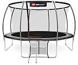 Батут для стрибків з внутрішньої сіткою 427 см чорний з сірим Hop-Sport Premium 14ft (427cm) black/grey, фото 3