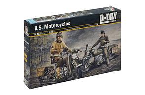 HARLEY DAVIDSON. Збірні моделі двох американських мотоциклів + 2 фігур в масштабі 1/35. ITALERI 322
