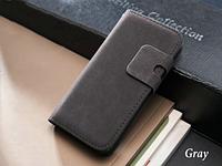 Серый чехол-книжка на iphone 5/5S из эко-кожи, мини портмоне