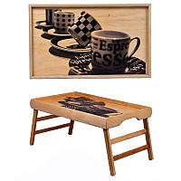 Оригинальный деревянный столик для завтрака из дерева Блестящий ход