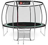 Батут для стрибків з внутрішньої сіткою 366 см чорний з зеленим Hop-Sport Premium 12ft (366cm) black/green, фото 2
