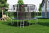 Батут для стрибків з внутрішньої сіткою 366 см чорний з зеленим Hop-Sport Premium 12ft (366cm) black/green, фото 4