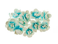 Цветы вишни бело-голубые 10 шт. ScrapBerry's, фото 1