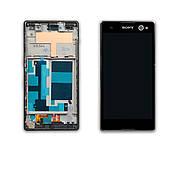 Дисплей SONY D2502/D2533 Xperia C3 c чорним тачскріном і рамкою