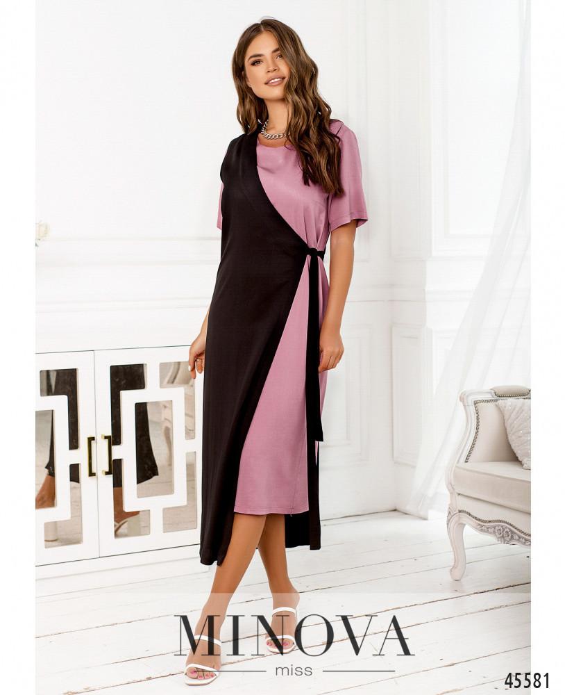 Ровное длинное платье-двойка с черной накидкой от 42 до 48