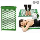 ОПТ Акупунктурний масажний килимок з валиком - подушкою для масажу спини і ніг osport з бавовни зелений, фото 3