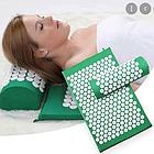 ОПТ Акупунктурний масажний килимок з валиком - подушкою для масажу спини і ніг osport з бавовни зелений, фото 4